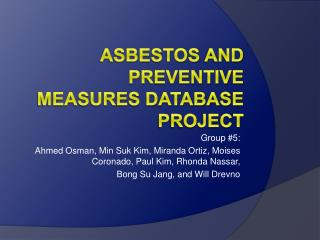 Asbestos and Preventive Measures Database Project