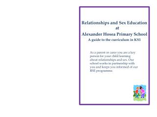 Relationships and Sex Education at  Alexander Hosea Primary School A guide to the curriculum in KS1