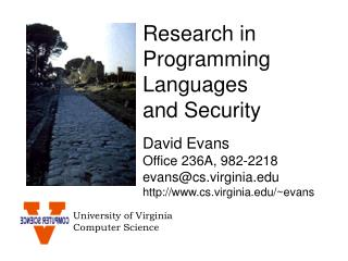 Research in Programming Languages  and Security
