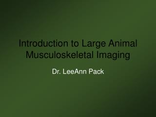 Introduction to Large Animal Musculoskeletal Imaging