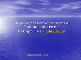 Traditional Indian Herbs