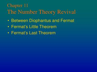 Chapter 11 The Number Theory Revival