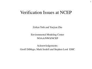 Verification Issues at NCEP