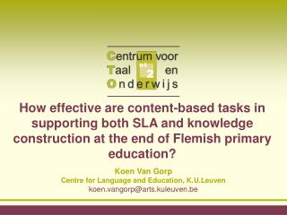 How effective are content-based tasks in supporting both SLA and knowledge construction at the end of Flemish primary ed