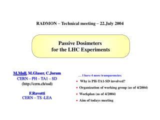 M.Moll, M.Glaser, C.Joram  CERN   PH   TA1   SD  cern.ch