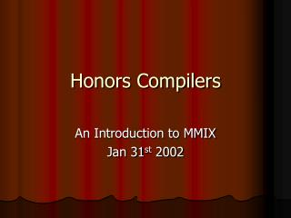 Honors Compilers
