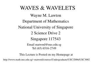 WAVES  WAVELETS