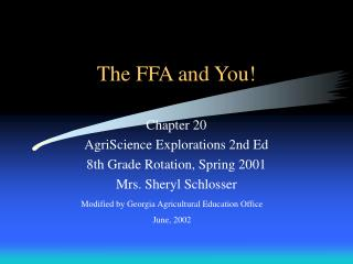 The FFA and You