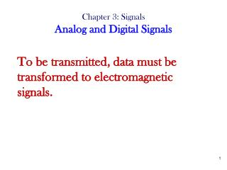 Chapter 3: Signals Analog and Digital Signals
