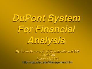 DuPont System For Financial Analysis