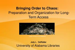 Bringing Order to Chaos:   Preparation and Organization for Long-Term Access