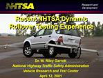Dr. W. Riley Garrott National Highway Traffic Safety Administration Vehicle Research and Test Center April 12, 2001