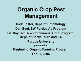 Organic Crop Pest Management