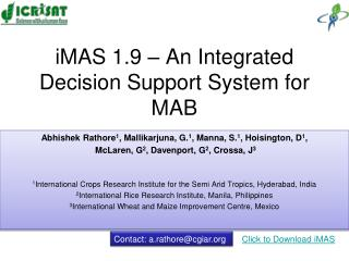 IMAS 1.9   An Integrated Decision Support System for MAB