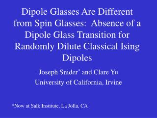 Dipole Glasses Are Different from Spin Glasses:  Absence of a Dipole Glass Transition for Randomly Dilute Classical Isin