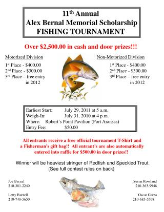 11th Annual  Alex Bernal Memorial Scholarship FISHING TOURNAMENT