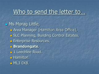 Who to send the letter to