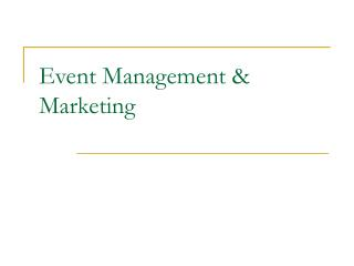 Event Management  Marketing