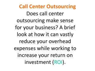 Best Call Center Outsourcing Services