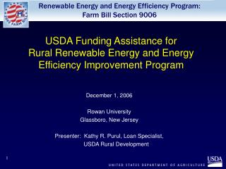 USDA Funding Assistance for  Rural Renewable Energy and Energy Efficiency Improvement Program