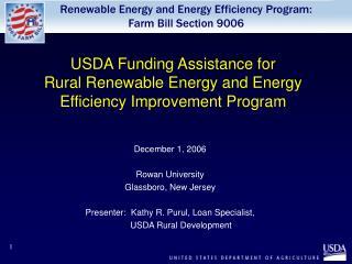 USDA Funding Assistance for  Rural Renewable Energy and Energy Efficiency Improvement Program