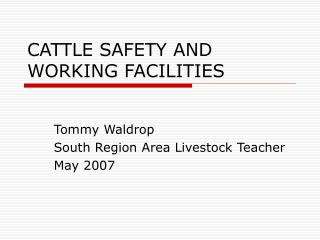 CATTLE SAFETY AND WORKING FACILITIES