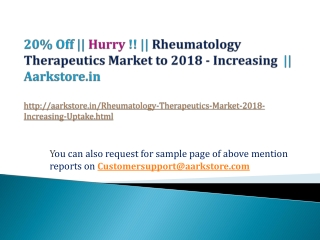 Rheumatology Therapeutics Market to 2018 - Increasing Uptake
