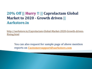 Caprolactam Global Market to 2020 - Growth driven by Rising