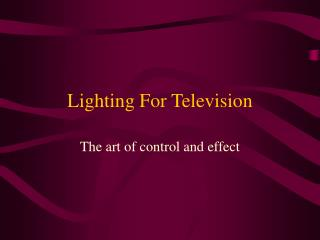 Lighting For Television
