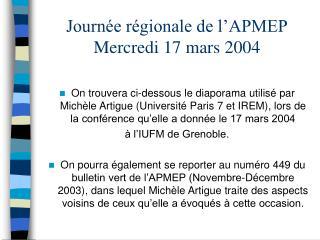 Journ e r gionale de l APMEP Mercredi 17 mars 2004