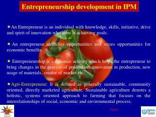 Entrepreneurship development in IPM