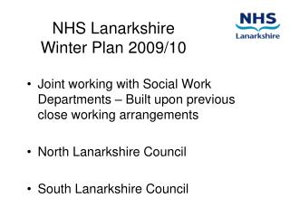 NHS Lanarkshire  Winter Plan 2009
