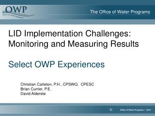 The Office of Water Programs