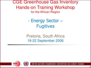 CGE Greenhouse Gas Inventory  Hands-on Training Workshop for the African Region  - Energy Sector   Fugitives  Pretoria,