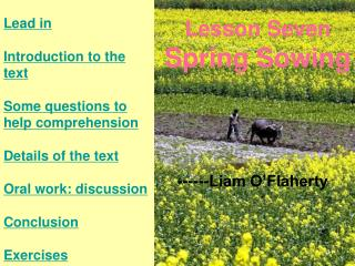 Lesson Seven Spring Sowing