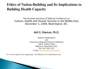 Ethics of Nation-Building and Its Implications to Building Health Capacity