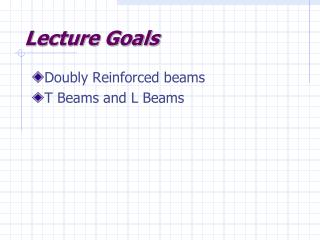 Lecture Goals