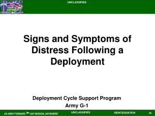 Signs and Symptoms of Distress Following a Deployment