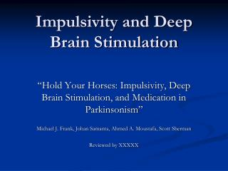 Impulsivity and Deep Brain Stimulation