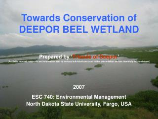 Towards Conservation of  DEEPOR BEEL WETLAND