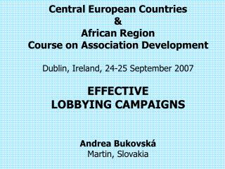 Central European Countries   African Region Course on Association Development  Dublin, Ireland, 24-25 September 2007  EF