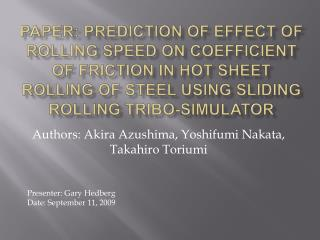 Paper: Prediction of effect of rolling speed on coefficient of friction in hot sheet rolling of steel using sliding roll
