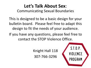 Let s Talk About Sex: Communicating Sexual Boundaries