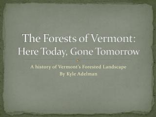 The Forests of Vermont:  Here Today, Gone Tomorrow