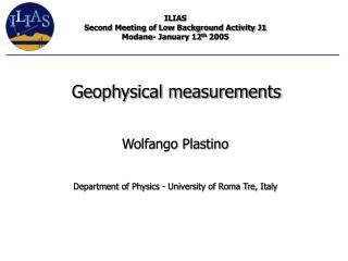 Wolfango Plastino  Department of Physics - University of Roma Tre, Italy