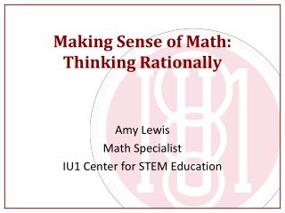 Making Sense of Math: Thinking Rationally