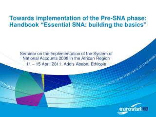 Towards implementation of the Pre-SNA phase: Handbook  Essential SNA: building the basics