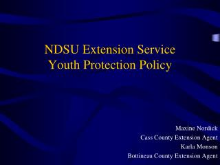 NDSU Extension Service Youth Protection Policy