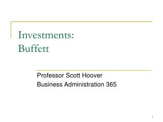 Investments: Buffett