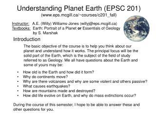 Understanding Planet Earth EPSC 201 eps.mcgill